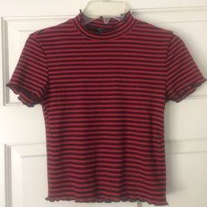 F21 red and black striped crop top